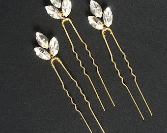 Set of 3 hair pins Crystal hair pins Rhinestone hair pins Bridal hair pins Wedding hair pins Gold hair pin Crystal hair pin Gold hair pins