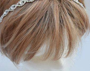 Thin Crystal Headband- Bridal Headband- RHinestone headbeand - Rhinestone hair piece - Bridesmaids Headband- Gatsby Hair Piece - EYM B002
