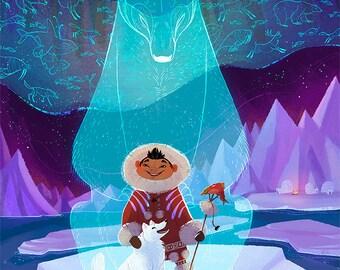 "Cherished Among the Spirits large 13x19"" velvet fine art print inuit Siberian arctic tribal inspired piece"