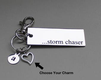 Personalized Storm Chaser Key Chain Stainless Steel Customized with Your Charm & Initial - K1002