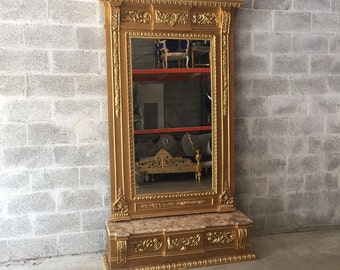 French Floor Mirror Gold Antique Heavy Carved French Furniture