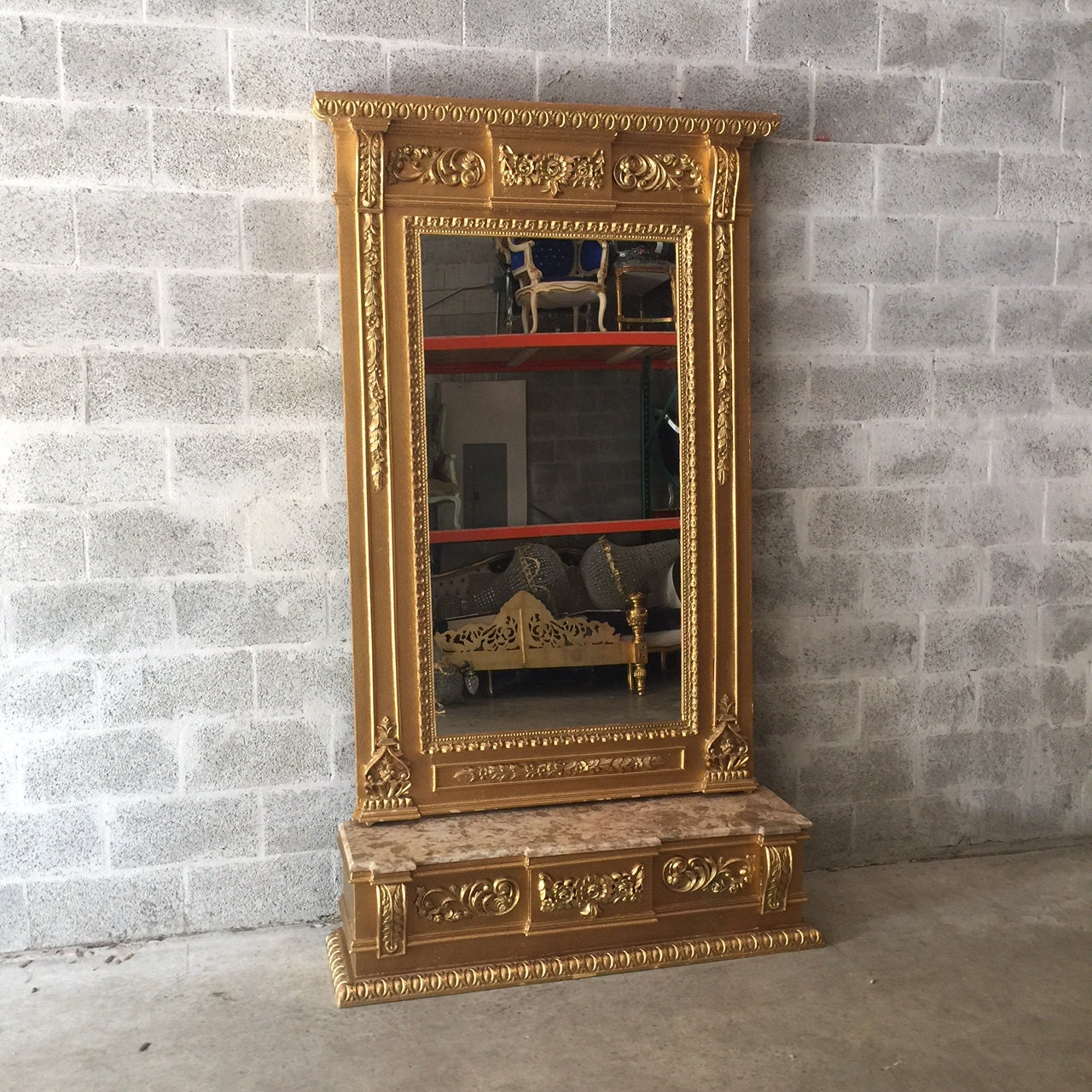 French Floor Mirror Antique French Louis XVI Floor Mirror 7.4 Feet ...