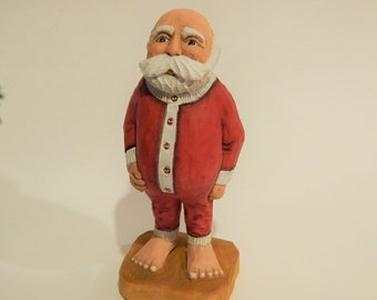Hand Carved Long John Santa Figurine for Collectible Holiday Original Winter Carving, Whimsical Christmas Decoration, Jolly Old Elf for sale