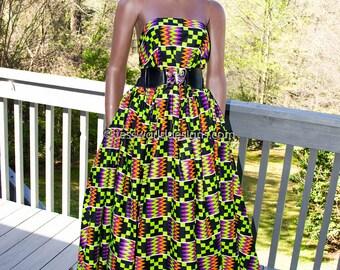 Quality Wedding Kente fabric by the yard/ Kente print/ Kente / Kente Cloth/ Kente Sash /Green, purple African Fabric / KF1007B