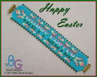 HAPPY EASTER Peyote Cuff Bracelet Pattern