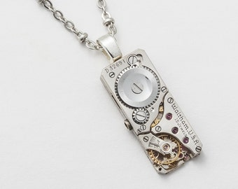 Steampunk Necklace vintage silver Waltham watch movement Gears ruby jewels mens womens unisex pendant Statement Steampunk jewelry 2024