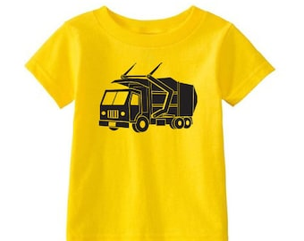 Kids' LEECH DEPT. - Cartoon Front-loader Garbage Truck - Yellow T-Shirt & more colors
