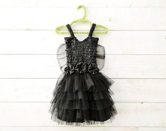 Black Tutu Dress, Fairy Dress, Fairy Wings, Sequin Dress, Butterfly Wings, Flower Girl, Floral Dress, Wedding, Flower Girl Dress, Black Tutu