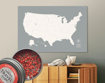 Push Pin Travel Map, US Map, Pin Map, Push Pin Map, USA Map, Map of USA, Map of Us, Canvas Map, Custom Travel Map, Our Travels, Travel