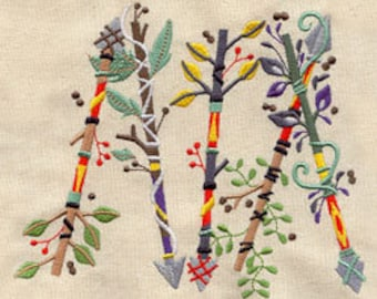 Native American Inspired Blooming Arrows Embroidered Flour Sack Hand/Dish Towel