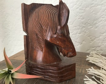 Vintage Wooden Horse Head Carved Bookend Single