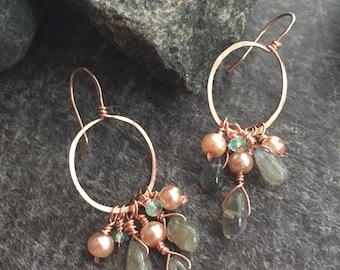 Labradorite Apatite Pearl Copper Little Hoop Earrings