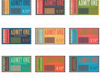 Movie ticket vector - Digital Clipart - Instant Download - EPS, PNG files included