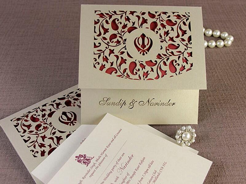 Luxury Intricate Lace Laser Cut Sikh Overlap Fold Indian Hindu