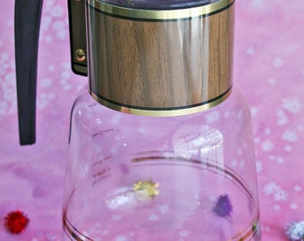 Cory Glass Mid Century Coffee Carafe, Retro Clear Heatproof Glass With Gold Trim, Wood-grain and Black Bakelite Handle