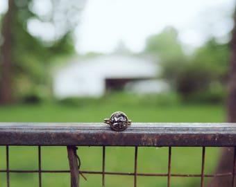 chipped metallic quartz ring