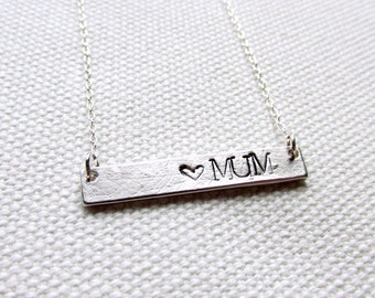 Silver Mum Necklace Mom Mother's Day Hand Stamped Bar Necklace