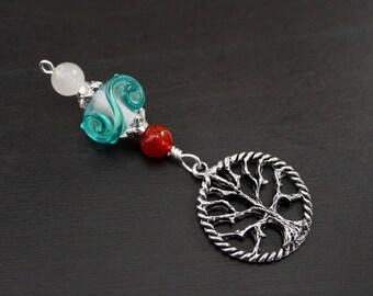 Red Carnelian Rose Quartz Ocean Wave Tree of Life Blessingway bead - Blessing bead, baby shower gift, pregnancy gift, doula gift, pendant