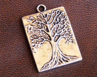 4 charms tree of life antique silver metal, size 32mm x 22mm