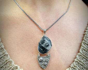 Pendant 925 sterling silver fossil orthoceras amethysts