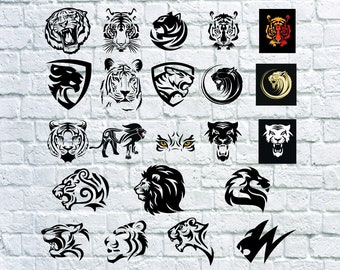 22 Tiger Svg, Tiger Head svg, Fierce Tiger, Clipart, Stencil, Silhouette, Dxf, Png, Eps, Vinyl, Cut File, Iron On, Cuttable, Cricut File.
