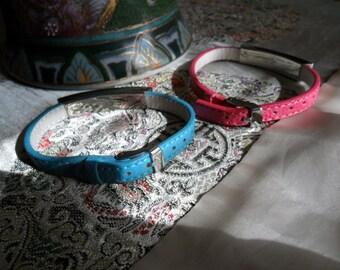 Vintage Stainless Steel and Leather Bracelets