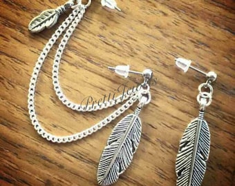 Feather Leaf Double Piercing Earrings