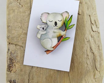 Mumma and Baby Koala Brooch