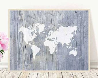 Rustic world map art, world map poster, nautical world map, world map print, printable map, canvas wall art, wall decor, map of the world
