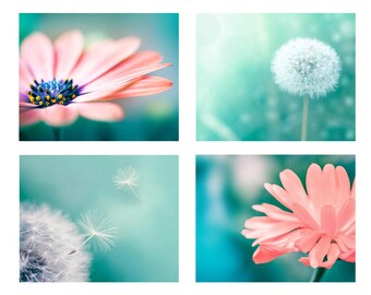 nature photography dandelion botanical photography floral set 8x10 11x14 fine art photography flower pink peach dandelion decor wall teal