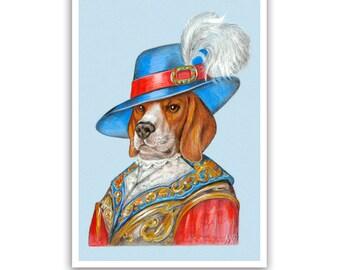 Beagle Art Print - the Lord - Dog Art Gifts, Royal Wall Decoration - Pet Portraits by Maria Pishvanova