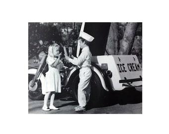 "Vintage Black and White Photography Ice Cream Truck Children (19 1/2"" x 15 3/4"")"