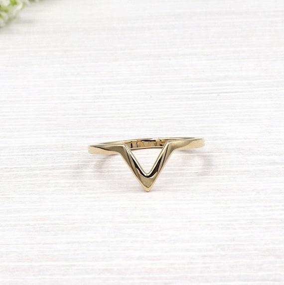 gold plated ring v-neck for women