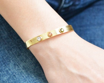 Three Birthstone Cuff Bracelet / Sterling Silver Cuff / Custom Bracelet / Birthstone Cuff / Gold Plated Cuff / Personalized Jewelry