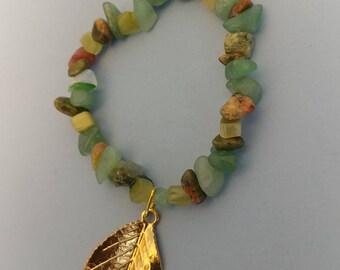 Stretch Chip Bead Bracelet w/ Gold Plated Leaf Charm