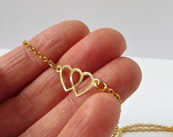 Gold Heart Necklace Tiny Heart Necklace Simple Heart Necklace, Tiny Heart Necklace Gold, Mother's Day Gift Jewelry, Gold Heart Necklace Real