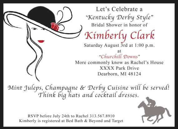 CUSTOM Kentucky Derby Theme Bridal Shower Invitation