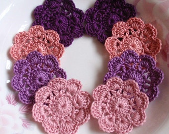 8 Crochet  Flowers In 1-3/4 inches YH - 166-02