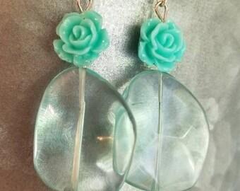 Aqua glass rose dangle earrings