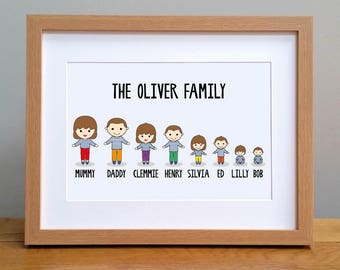 Personalised Family Print / A3 Our Family Picture / New Home Wall Art / Family Gift / UNFRAMED Customised Print