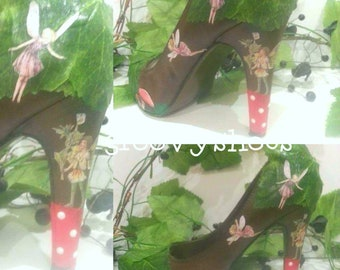 Fairy garden heels/wedges and flats. Fairies. Tinkerbell shoes. Fantasy shoes