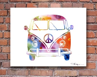 VW Bus Art Print - Abstract Volkswagen Watercolor Painting - Wall Decor