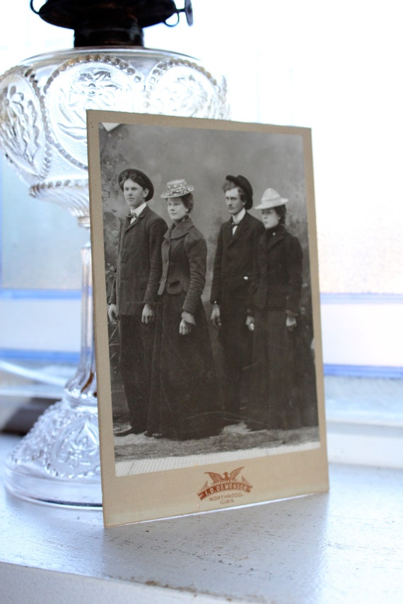 Antique Photograph Cabinet Card 2 Victorian Couples with Fun Hats