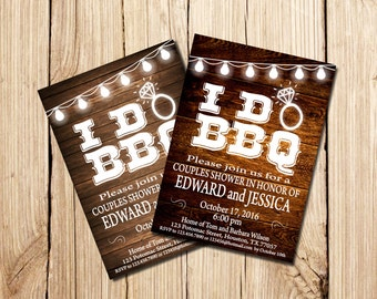 I DO BBQ Invitation,  Couples Shower Invitation, Printable Couples Shower Invitation, Couples Shower Invitation,  I Do BBQ, wood