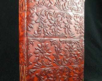 A5 Handmade Leather Journal Diary - Hand-Tooled TUDOR Design