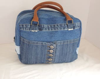 Upcycled denim and leather handbag