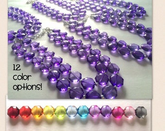 Set of 5 Bridesmaid Necklaces - choice of 12 colors! Multi Color Acrylic Faceted Chunky Statement Bib Necklaces Jewelry Sets Wedding