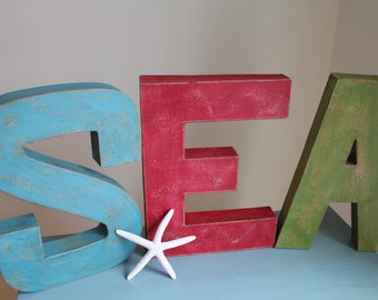 """12"""" Painted Letters. SEA Vintage Style Letters.Distressed Letters.Coastal Decor. Typography. Letters. Custom Gift. Christmas Gift. Word Art."""