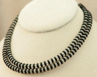 Laguna Jewelry Set-Laguna Two Strand Black Crystal Choker Necklace Clip Style Earring Set Vintage