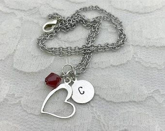Heart necklace, Personalized charm necklace, Hand-stamped jewelry, Custom necklace, Birthstone necklace, Initial necklace